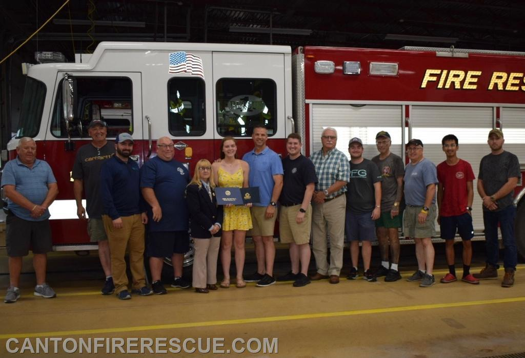 FF Brooke Larrabee with fellow members of the Canton Fire Department.